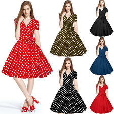 Women Summer Dresses 2017 Casual Polka Dot Vintage 50s Swing Short Party Dress