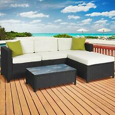 Outdoor Patio Furniture Cushioned 5 Pc Rattan Wicker Sectional Sofa Set Table