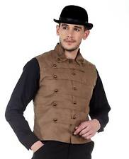 Men's Victorian Military Style Suede Steampunk Costume Waistcoat Vest Brown