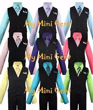 My Mini Gent Boys 4PC Pinstripe Vest Suit Set Many Colors Vest Pants Shirt Tie