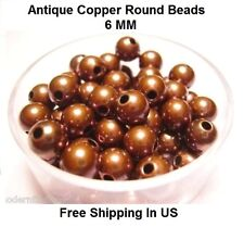 6 MM Antique Copper Round Hollow Beads Hole 2.2 MM (Genuine Solid Copper)