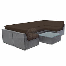 7PS Patio Set Outdoor Sectional Couch Furniture Cushion Wicker Sofa Set 11 Color