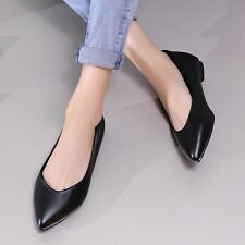 Simple Womens Leather Slip-on Ballet Flats Ballerinas Pointed Toe Solid Shoes