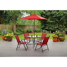 6 Pc Folding Patio Dining Set Beige Gray Red Blue Outdoor Chairs Table Umbrella