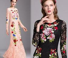 Women Sexy Embroidery Lace Flower Maxi Hollow Fishtail Sexy Ball Gown Prom Dress