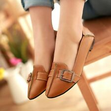 Womens Leather Flat Heels Belt-buckle Pointed Toe Shoes Ballerinas Ballet Flats