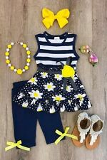 NEW GIRLS TODDLER NAVY DAISY BOUTIQUE SET