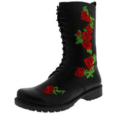 Womens Rock Flowers Military Lace Up Punk Army Mid Calf Embroidered Boot US 5-12