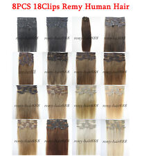 6A Quality 18'' Straight Clip in Remy Human Hair Extensions 8pcs 90g UK 42colors