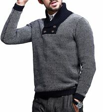 Mens Long Sleeve Lapel Constrasted Casual Thick Sweater M L XL XXL Nice!!