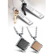 316L Stainless Steel Matching Couple Valentines Day Key/Square Pendant Necklace