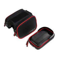 Cycling Bike Frame Pannier Front Tube Bag Phone PU Waterproof Double Case 6.2""
