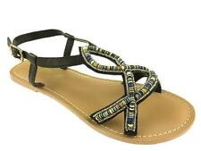 LADIES STRAPPY SUMMER GLADIATOR FLAT SANDALS BLACK SIZE 3-8 NEW