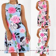 WOMENS DRESS LADIES FLORAL FLOWER SWING SKATER FLARED PRINTED SHORT PARTY DRESS