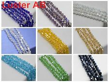 120pcs Luster AB 4X4mm Bicone bead Faceted Crystal Glass Beads Color For Choice