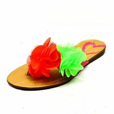 Older Girls Pink pretty Rainbow coloured ruffled party shoes / flip flops