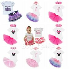 Newborn Infant Baby Girls Romper Bodysuit Jumpsuit Outfits Sunsuit & Tutu Skirt