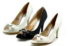 Ladies satin peep toe court shoes with diamante bow