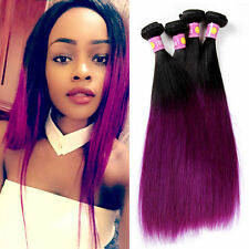 STRAIGHT Black To Purple Two Tones Ombre Brazilian Human hair Virgin Hair Weft