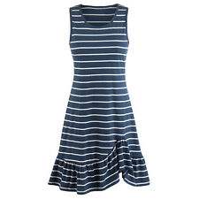 Navy Stripe Knit Sundress - Sleeveless Tank Top Midi Summer Dress
