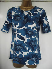 NEW - NEXT - size 10 - classic cream with TEAL floral print ladies TOP  BNWoT
