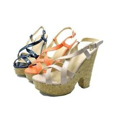 Ladies Patent strappy platform wedge heel sandals / shoes
