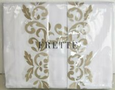 NEW FRETTE Carrara SHEET Cases 4 PC Bed SET White Embroidery Beige  KING QUEEN
