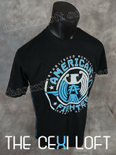 Mens AMERICAN FIGHTER T-Shirt Black with Reflective Printed Logo's