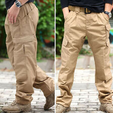 Mens Cotton Work Pants Casual Military Cargo Slacks Outdoor Tactical Trousers