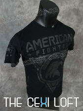 Mens AMERICAN FIGHTER T-Shirt in Black with Thick Print Eagle Head Designs