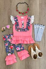 NEW GIRLS TODDLER CORAL AND GRAY FLORAL RUFFLE SHORTS SET