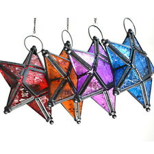 Glass Hanging Five-pointed Star Tea Light Holder Candle Lantern Deco Colorful UI