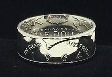 1964 Silver Kennedy Half Dollar Coin Ring, Hand-crafted