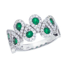 14k White Gold Emerald and .48 ct Diamond Fashion Ring