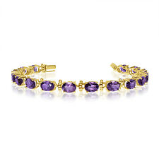 14K Yellow Gold Oval Amethyst Tennis Bracelet