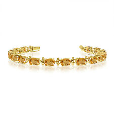 14K Yellow Gold  Oval Citrine Tennis Bracelet