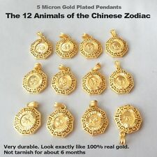 Chinese animals zodiac horoscope year sign 5 micron 24k gold plated pendant Thai