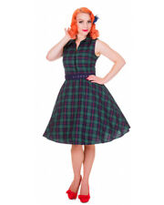 Dolly & Dotty Pin Up Retro Poppy 50's Rockabilly Swing Dress Green Plaid Vintage