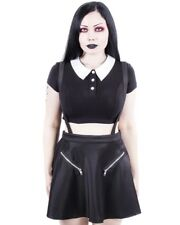 Banned Apparel Gothic Goth Punk Highlife Pinafore Mini Skirt Black Straps