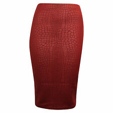 New Women's Ladies Knee Length Snake Look Midi Skirt UK Size 8-14