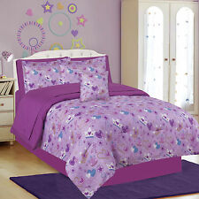 Girls Bedding Twin or Full Size Fairy Princess Purple Comforter and Sheet Set