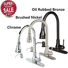 "16"" 18"" Kitchen Sink Faucet Brushed Nickel Pull-Out Spray Swivel Spout Dispenser"