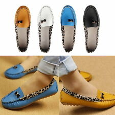 Women PU Leather Leopard Casual Slip On Dolly Ballet Flat Heel Loafer Shoes EW