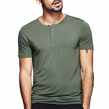 Summer Mens Smooth Casual Henley T-shirt Viscose Soft Solid Basic Tee 5 Colors