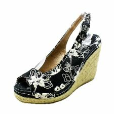 Black Canvas open toe - sling back wedge sandals / shoes with white embroidery