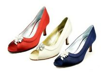 Ladies Satin oval open toe low heel evening shoes with pearl diamante brooch
