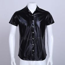 Sexy Men's Black Patent Leather Gym Muscle Tank Top T-Shirt Undershirt Clubwear