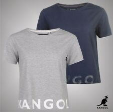 New Ladies Branded Kangol Casual Large Logo Print Boxy Fit T Shirt Top Size 8-18