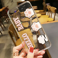 Bling Glitter Cat Paw Happy Baby Clear Soft Case Cover for iPhone 7 7 Plus 6 6S