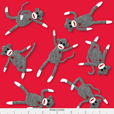 Red Sock Monkey Fabric Printed by Spoonflower BTY